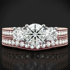 IGI Certified 2 Carat Round Diamond Wedding Band Set Solid 18K Rose Gold 6 7 8 9 #Handmade