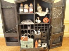Dollhouse Miniature Witch Spell Cabinet w Accessories | eBay