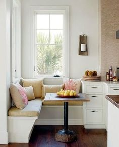 "<p>A great appeal of banquette seating is its efficient use of space, as in this inviting kitchen corner. If you are placing a banquette in front of <a href=""http://www.bobvila.com/categories/doors-windows/windows"" title=""http://www.bobvila.com/categories/doors-windows/windows"" target=""_blank"">windows</a>, be sure the windows are a good 24 inches off the floor to allow for a seat height of 15 inches. </p>"
