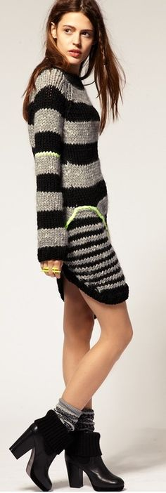 sweater dress and knitted boots ✤ | Keep the Glamour | BeStayBeautiful