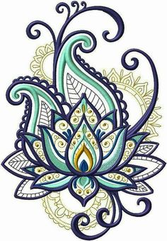 Bordado - embroidery designs рисунок узора мандала, узоры рисунков х Machine Embroidery Patterns, Embroidery Patches, Simple Embroidery, Hand Embroidery, Paisley Embroidery, Embroidery Tattoo, Embroidery Ideas, Henna Designs, Flower Designs