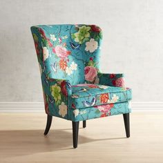 Asher Flynn Floral Print Chair is part of Vintage Room Decor Chairs - Wingback Accent Chair, Teal Accent Chair, Upholstered Chairs, Chair Cushions, Swivel Chair, Chair Pads, Fabric Chairs, Accent Chairs For Living Room, Living Room Decor