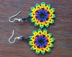 Handmade Flower huichol Earrings by CualtzinCihuatl on Etsy