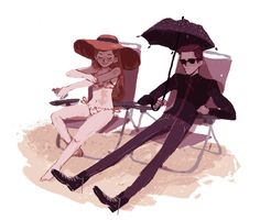 Hades and Persephone at the beach <<< I don't know why, but I love that