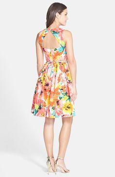 Eliza J Belted Print Faille Fit & Flare Dress (Regular & Petite) | Nordstrom