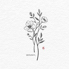 Wildflower tattoo design by Ella Storm ella . - The most creative and beautiful tattoo list Dainty Flower Tattoos, Small Butterfly Tattoo, Cute Small Tattoos, Butterfly Design, Floral Tattoo Design, Design Tattoo, Flower Tattoo Designs, Mini Tattoos, Future Tattoos