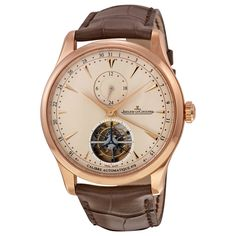 Jaeger LeCoultre Master Grand Tradition Beige Dial 18kt Rose Gold Brown Alligator Mens Watch Q1662510