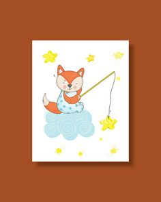 Fox Nursery Art Print  Baby Fox Star Fishing  by HappyLittleBeans