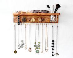 Organisateur de bijoux avec tablette, support de collier, Bracelet/boucle d'oreille barre et Mason Jar