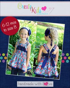Sabrina's Ruffled Top and Dress PDF Pattern sizes months to 8 girls Create Kids Couture, Peasant Tops, Pdf Sewing Patterns, Ruffle Top, Looks Great, Summer Dresses, Outfits, Grandchildren, 6 Months