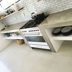 New 14 creative kitchen backsplash ideas Concrete Kitchen, Kitchen Flooring, Concrete Countertops, Open Kitchen Shelves, Kitchen Decor, Kitchen Countertops, Diy Kitchen, Rustic Kitchen, Kitchen Design