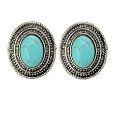 Qise Women's Inlaid Oval Turquoise Stud Earrings