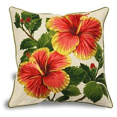 Yellow Red Hibiscus Linen Pillow: H x W . Decorate your home with our elegant embroidered pillows. These pillows portray brig Cushion Covers, Pillow Covers, Linen Pillows, Throw Pillows, Yellow Hibiscus, Diy Canvas, Fabric Painting, Diy Flowers, Printing On Fabric