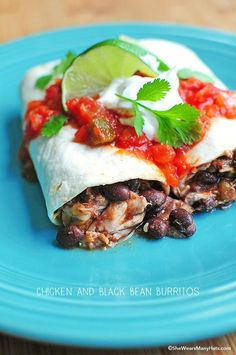 Easy Chicken and Black Bean Burritos are a tasty choice for a quick lunch or dinner. They're quick to make too!