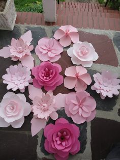 Items similar to Large Pink Paper Flowers - Rose Extra Large Flower 12 flowers Valentine's Day Decor on Etsy