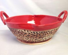 Red pottery serving bowl with handles by MGFMudpies on Etsy, $50.00