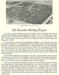 Proposed new construction on campus in 1927.  From the 1927 Oregana (University of Oregon yearbook).  www.CampusAttic.com