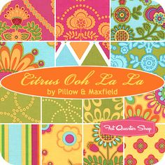 Citrus Ooh La La Fat Quarter Bundle Pillow & Maxfield for Michael Miller Fabrics - Fat Quarter Shop