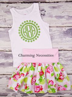 Serenity Yoga Waist Twirl Skirt  with (optional) Glitter Monogram Tank Top-