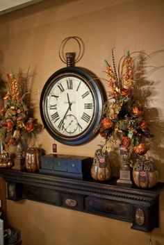 If you are having difficulty making a decision about a home decorating theme, tuscan style is a great home decorating idea. Many homeowners are attracted to the tuscan style because it combines sub… Fireplace Decor, Farmhouse Decor, Clock Decor, Diy Home Decor, Fall Decor, Clock Wall Decor, Tuscan Living Rooms, Tuscany Decor, Home Decor