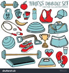 Hand Drawn Fitness Doodle Set. Sport Clothes, Dumbbell, Fitball, Gloves, Scales, Step And Cup. Multicolor Vector Illustration