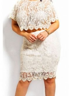 Short Sleeve White Lace Crop Top and Skirt with cheap wholesale price, buy Short Sleeve White Lace Crop Top and Skirt at Rotita.com !