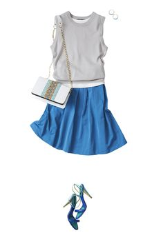 I have a silver top. I have a blue skirt. Japan Fashion, Fashion 2017, Daily Fashion, Fashion Outfits, Womens Fashion, Fasion, Smart Casual Outfit, Casual Outfits, Cute Outfits