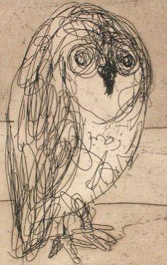 © John Olsen ~ Owl ~ Hardground line etching at Olsen Irwin Gallery Sydney Australia Modern Art Artists, Graffiti Characters, Pet Birds, Birds 2, Blue Horse, Beautiful Lines, Australian Artists, Art Drawings, Drawing Art