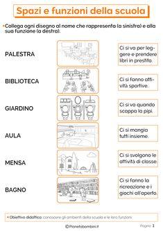 Spazi e Funzioni della Scuola: Schede Didattiche per la Scuola Primaria | PianetaBambini.it Italian Vocabulary, Italian Language, Learning Italian, First Day Of School, Problem Solving, Social Studies, Elementary Schools, Kids Learning, Coding