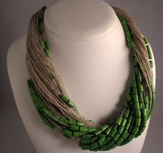 Necklace green grass linen thread eco wood beads lacquered  knots metal closure Mediterranean style handmade