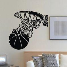 Wall Decal Vinyl Sticker Gym Sport Basketball Ball in Basket Decor Teen Wall Art, Boy Wall Art, Vinyl Wall Decals, Wall Art Prints, Teen Boys Room Decor, Wall Stickers Sports, Gaming Wall Art, Room Tapestry, Diy Wall Painting