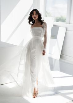 Bridal go well with Bridal outfit Bridal cape Bridal jumpsuit Bridal Pants, Wedding Jumpsuit, Bridal Outfits, Bridal Dresses, Reception Dresses, Maxi Dresses, Tulle Skirts, Bridesmaid Dresses, Wedding Pantsuit