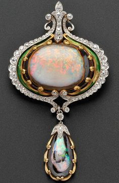 Art Nouveau Opal, Diamond, and Enamel Brooch, Marcus & Co., centering an opal matrix cabochon within a scrollwork frame, and suspending a conforming drop, set with seventy-six old mine- and old European-cut diamonds