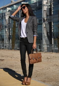 1. White Shirt, tucked into jeans  2. Grey Blazer  3. Dark Skinny Jeans  4. Pumps  5. Briefcase Bag  6. Sunglasses