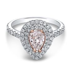 18kt White Gold 1 1/8ctw Engagement Ring with Fancy Pink Pear Diamond for $9,595 ONLY at Wedding Day Diamonds