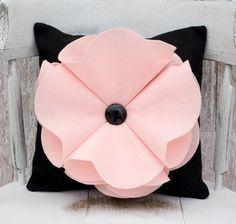 Decorative Light Pink Felt Poppy Flower Pillow with Button 14x14. $24.99, via Etsy.