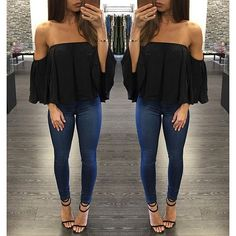 Off the shoulder shirt, jeans, & strappy heels... PERF