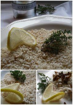 Riso acquerello mantecato con funghi e scorza di limone al profumo di timo