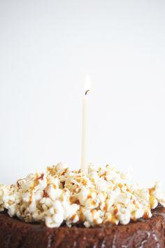 flourless chocOlate cake with popcorn & caramel sauce