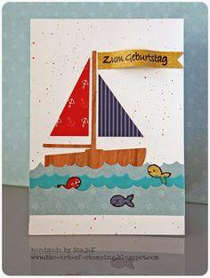 Karte, Geburtstag, Motivpapier, Aquarellfarben | birthday card, patterned paper, watercolors - Paper Smooches, Lawn Fawn, Schmincke Horadam Aquarell