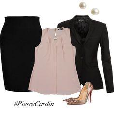 Un traje básico y una bonita blusa te salvarán  cuando no sabes que ponerte.  #Moda Pierre Cardin México