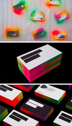 The Top 15 DIY Business Cards - Design Ideas || Multi-color spray painted business cards by IS Creative Studio
