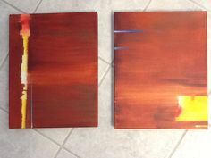 Abstract canvas art, Southwestern oil paintings, matched pair, Sedona, each 11 x 14