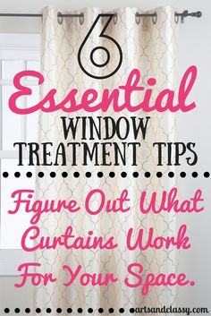 6 Tips To Picking Your Perfect Curtain Style in Your Home! Don't ever worry about choosing curtains again. Learn how to pick like a pro for any room Home Living, My Living Room, Apartment Living, Living Spaces, Window Coverings, Window Treatments, Window Trims, Decorating Tips, Decorating Your Home