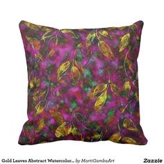 Gold Leaves Abstract Watercolor Pillow