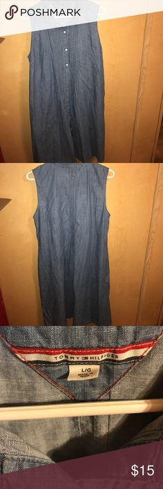 Trendy Tommy Hilfiger denim inspired dress sz lg Trendy Tommy Hilfiger button down dress size large Tommy Hilfiger Dresses