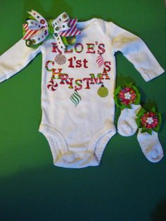 Baby Girl's First Christmas by PerfectLittlePeople on Etsy, $20.00