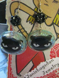 Black Cat Earrings by jansbeads on Etsy, $14.50