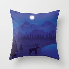 Night landscape Throw Pillow by FishDesigns Freelance Graphic Design, My Works, Tapestry, Throw Pillows, Landscape, Night, Illustration, Artist, Prints