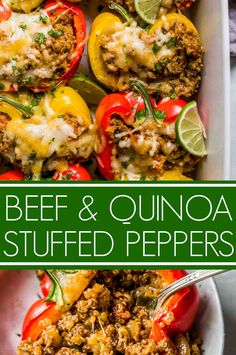 Recipes Beef These Southwest Beef & Quinoa Stuffed Peppers make a hearty, healthy, protein packed meal that's amazingly delicious and quick and easy to prepare. Stuffed Bell Peppers Quinoa, Stuffed Peppers Healthy, Southwest Stuffed Peppers, Quinoa Recipes Easy, Healthy Recipes, Kale Recipes, Protein Recipes, Recipes Dinner, Dinner Ideas
